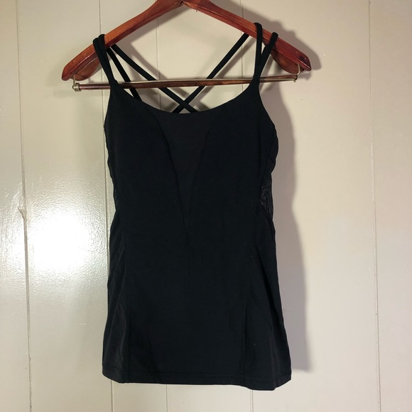 lululemon athletica Tops - Sz 6 lululemon black sheer cross back tank
